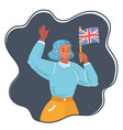 woman waving the uk flag vector image