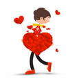 woman with big heart and small hearts isolated on vector image vector image