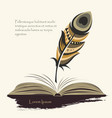 writing pen multicolored feather with open book vector image