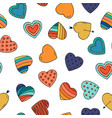 colorful hearts - seamless hand drawn pattern vector image