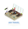 air travel people isometric composition vector image
