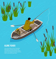 alone fisher isometric vector image