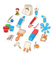 art icons set cartoon style vector image