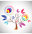 Beautiful abstract coloful tree with sun vector image