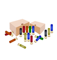 Boxes of Shotgun Shells on White Background vector image