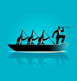 businessmen rowing the boat vector image vector image
