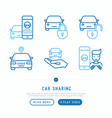 car sharing thin line icons set vector image vector image
