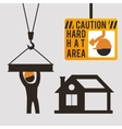 caution hard hat area sing worker vector image