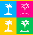 coconut palm tree sign four styles of icon on vector image