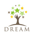 dream tree with star logo children dreaming logo vector image vector image