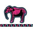 elephant black neon skeleton cartoon vector image vector image