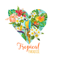 Floral Heart Graphic Design - Tropical Flowers vector image vector image