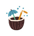 fresh tropical cocktail in coconut half vector image
