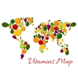 Fruit vitamins world map with fruits icons vector image vector image