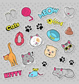 funny cats badges patches and stickers vector image vector image