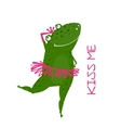 Funny Cute Frog with Crown Dancing vector image vector image