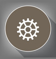gear sign white icon on brown circle with vector image vector image