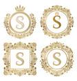 Golden letter s vintage monograms set heraldic