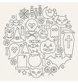 Halloween Holiday Line Icons Set Circular Shaped vector image vector image