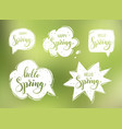 Hello spring lettering on speech bubbles