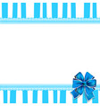 holiday greeting card with blue bow on blue and vector image vector image
