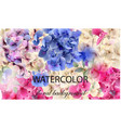 hydrangeas watercolor floral background vector image vector image