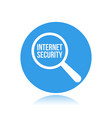 internet security word magnifying glass vector image