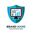 investment computer logo shield vector image vector image