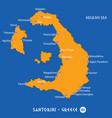 island of santorini in greece orange map and blue vector image vector image