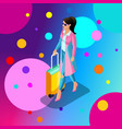 isometric girl in a bright stylish raincoat with vector image