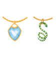 jewelry jewellery gold bracelet necklace vector image