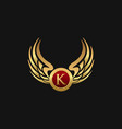 luxury letter k emblem wings logo design concept vector image vector image