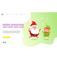 merry christmas greeting card with santa claus elf vector image vector image