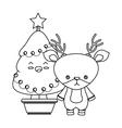 merry christmas tree kawaii style vector image vector image