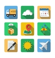 Nine different icons in a flat style vector image vector image