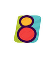number eight logo in kids paper applique style vector image vector image