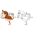 outline animal for cute monkey vector image vector image