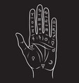 palmistry or chiromancy hand vector image