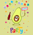party flayer template with funny avocado character vector image