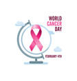pink cancer ribbon and globe international cancer vector image vector image