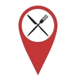 Red geo pin with fork and knife vector image