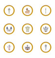royal castle icons set cartoon style vector image vector image