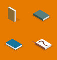 set flat books in 3d vector image vector image
