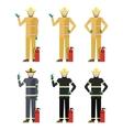 Set of Firemen vector image vector image