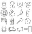 set of icons in line style firefighter vector image vector image