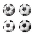 soccer balls set on white background in four vector image vector image
