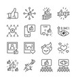 social network line icon set vector image
