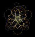 tattoo with lotus and circles on black background vector image vector image