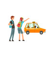 taxi service male clients waving to taxi car vector image vector image
