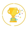 trophy gold cup winner symbol icon champion flat vector image vector image